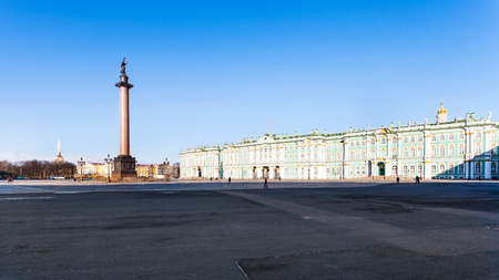 panoramic view of Palace Square with Alexander Column in Saint Petersburg city in March morning Editorial