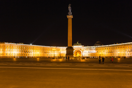 view of Palace Square with Alexander Column and General Staff Building in Saint Petersburg city in night