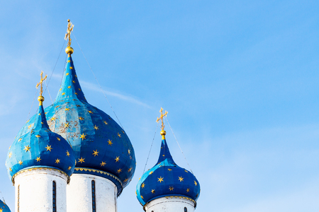 tops of Cathedral of Nativity of the Virgin ( The Cathedral of the Nativity of the Theotokos) in Suzdal Kremlin in Vladimir oblast of Russia