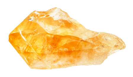 macro shooting of natural rock specimen - raw crystal of Citrine (yellow quartz) gemstone isolated on white background from Brazil 写真素材
