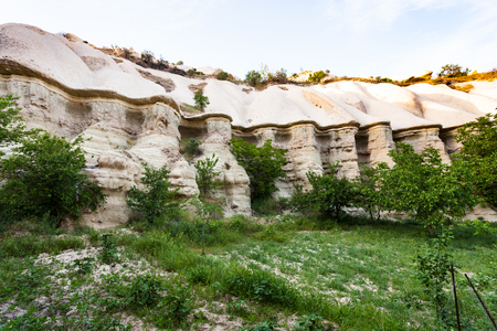 Travel to Turkey - rocks in ravine near Goreme town in Cappadocia in spring