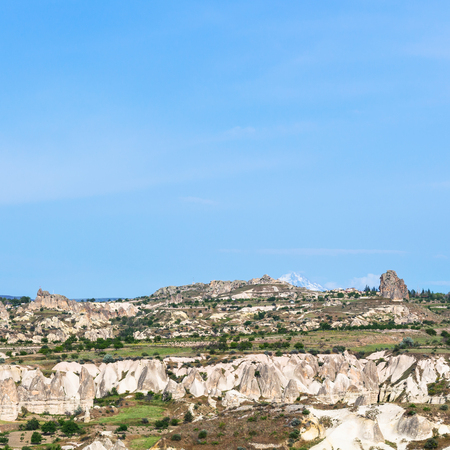 Travel to Turkey - mountains in Goreme National Park in Cappadocia in sunny spring day Stock Photo
