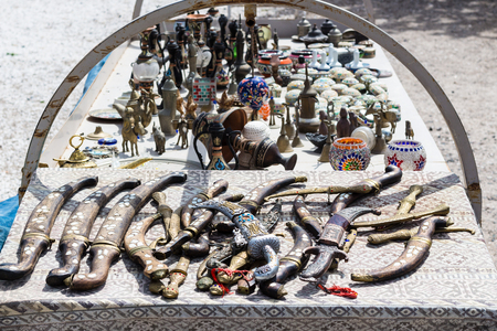 Travel to Turkey - souvenir on street market in Goreme town in Cappadocia in spring Stock fotó