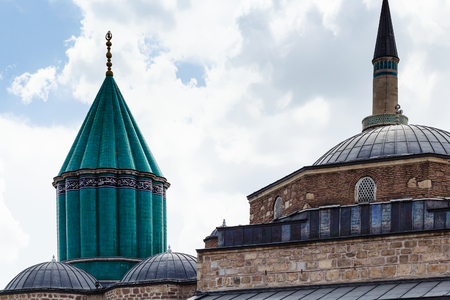 Travel to Turkey - green dome and roof of Mausoleum of Jalal ad-Din Muhammad Rumi (Mevlana) and Dervish Lodge (Tekke) of the muslim Mevlevi order in Konya city