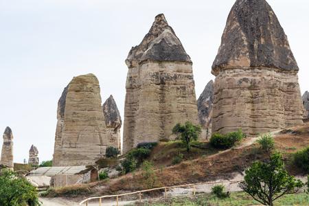 Travel to Turkey - fairy chimney rocks in Goreme National Park in Cappadocia in spring Stock Photo