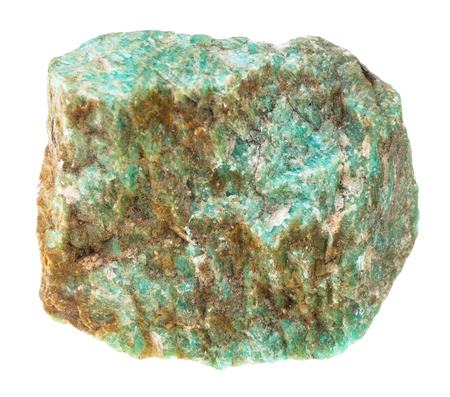macro shooting of natural mineral - rough Amazonite stone isolated on white backgroung from Ural Mountains