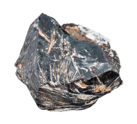 macro shooting of natural mineral - rough Hematite crystal isolated on white backgroung from Central Ural Mountains