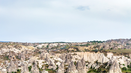 Travel to Turkey - old mountain landscape in Goreme National Park in Cappadocia in spring Stock Photo