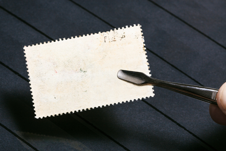 philately concept - tongs keeps postage stamp with unused back side Stok Fotoğraf