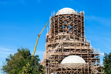 building of new orthodox temple of Saint Spyridon (St Spiridon) Bishop of Trimythous in Koptevo district of Moscow on sunny summer day