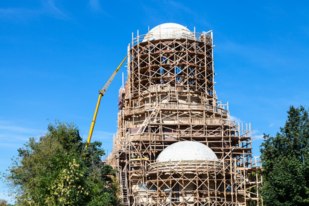 building of new orthodox church of Saint Spyridon (St Spiridon) Bishop of Trimythous in Koptevo district of Moscow on sunny summer day