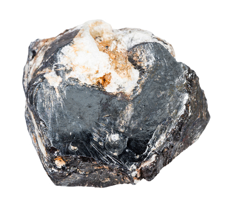 macro shooting of natural mineral - raw Hematite crystal isolated on white backgroung from Central Ural Mountains