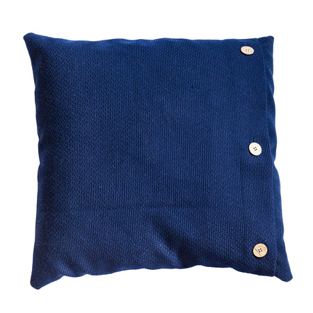 back side of handmade blue decorative pillow isolated on white background