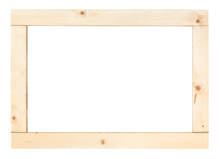 simple rectangular frame from wooden planks isolated on white background Stok Fotoğraf
