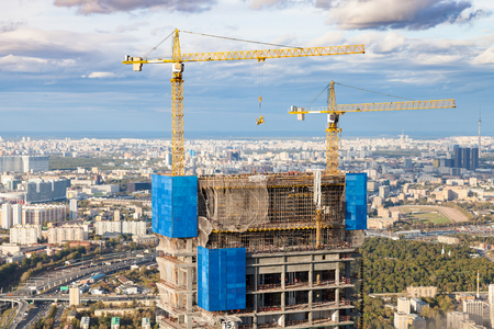 construction of high-rise building in Moscow city in autumn day