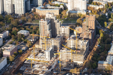top view of construction site in residential district of Moscow city in autumn day Stok Fotoğraf