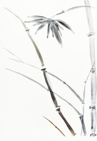 Peinture à la main dans le style sumi-e sur papier crème - buisson de bambou dessiné par des aquarelles noires et brunes