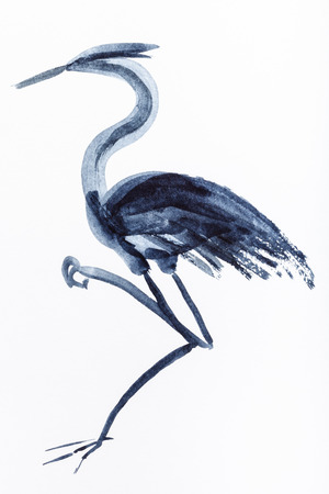 Hand painting in sumi-e style on white paper - heron bird drawn by black watercolors
