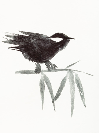 training drawing in sumi-e (suibokuga) style with watercolor paints - sparrow bird on bamboo twig is hand drawn on creamy paper Reklamní fotografie