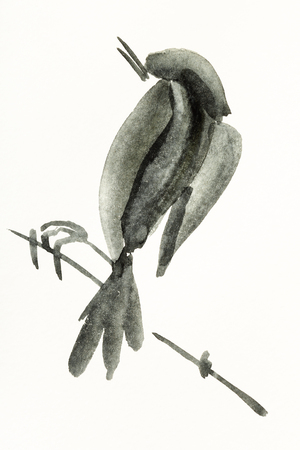 training drawing in sumi-e (suibokuga) style with watercolor paints - bird on twig is hand drawn on creamy paper