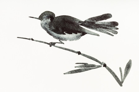 training drawing in sumi-e (suibokuga) style with watercolor paints - bird on bamboo twig is hand drawn on creamy paper