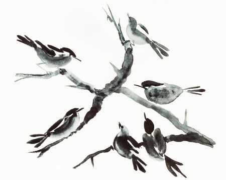 training drawing in sumi-e (suibokuga) style with watercolor paints - birds on tree are hand drawn on creamy paper