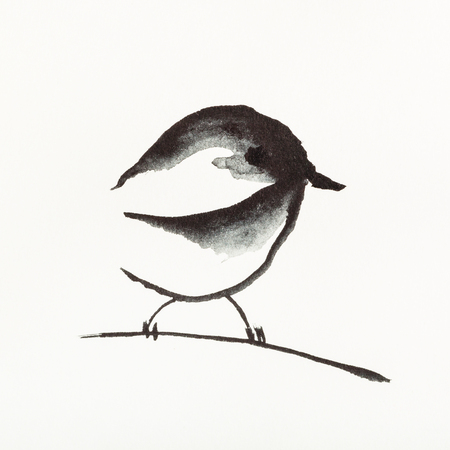 training drawing in sumi-e (suibokuga) style with watercolor paints - sparrow bird on twig is hand drawn on creamy paper