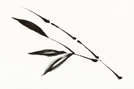 training drawing in sumi-e (suibokuga) style with watercolor paints - bamboo branch is hand drawn on creamy paper Banco de Imagens - 115999825