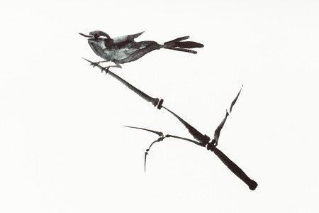 training drawing in sumi-e (suibokuga) style with watercolor paints - bird on reed twig is hand drawn on creamy paper Banco de Imagens - 115999827