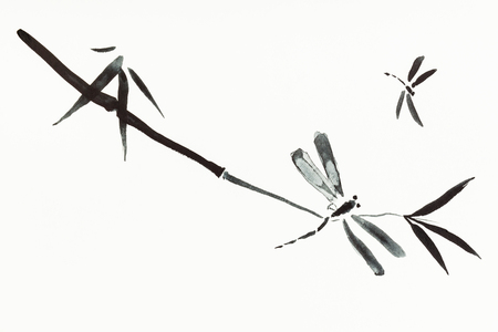 training drawing in sumi-e (suibokuga) style with watercolor paints - dragonflies and bamboo twig are hand drawn on creamy paper Banco de Imagens