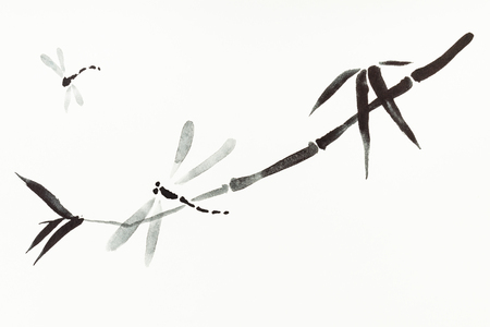 training drawing in sumi-e (suibokuga) style with watercolor paints - dragonflies and reed are hand drawn on creamy paper