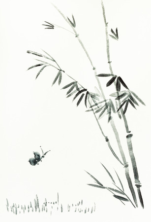 training drawing in sumi-e (suibokuga) style with watercolor paints - butterfly near bamboo bush is hand drawn on creamy paper Banco de Imagens