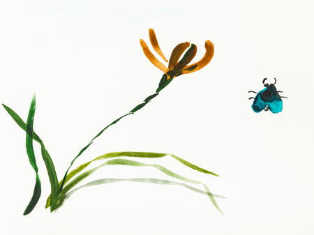 training drawing in sumi-e (suibokuga) style with watercolor paints - bug and iris flower are hand drawn on creamy paper