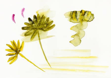 training drawing in sumi-e (suibokuga) style with watercolor paints - sketch of flowers are hand drawn on creamy paper