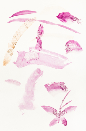 training drawing in sumi-e (suibokuga) style with watercolor paints - purple brush strokes are hand drawn on creamy paper