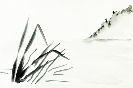 training drawing in sumi-e (suibokuga) style with watercolor paints - view of shore with mountain slope is hand drawn on creamy paper Banco de Imagens