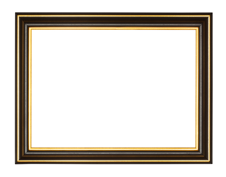 empty black and gold wooden picture frame with cut out canvas isolated on white background