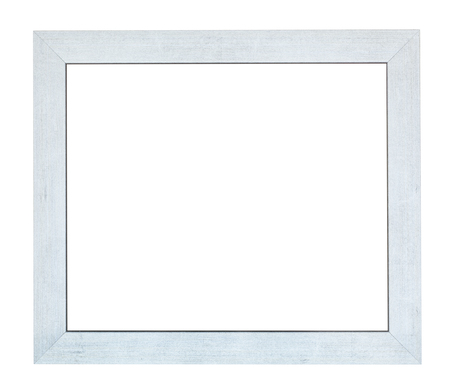 empty flat silver wooden picture frame with cut out canvas isolated on white background