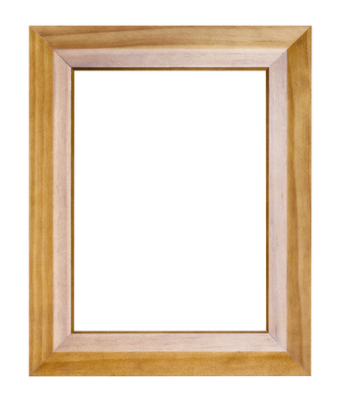 empty modern wide brown wooden picture frame with cut out canvas isolated on white background