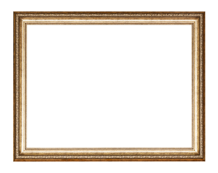 empty golden carved wooden picture frame with cut out canvas isolated on white background 免版税图像 - 116685090