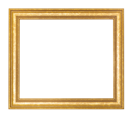 empty wide golden wooden picture frame with cut out canvas isolated on white background