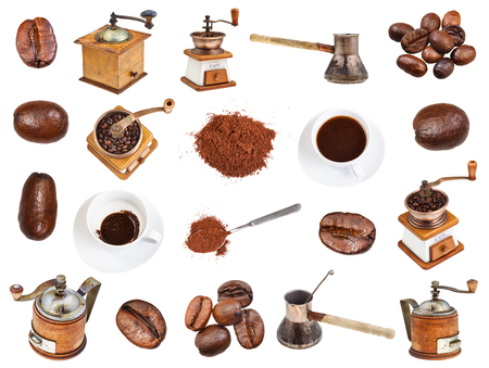 collage from coffee, beans, ground powder, coffee mills, drinks in cups isolated on white background