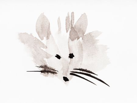 training drawing in sumi-e (suibokuga) style - muzzle of the mouse handpainted by black watercolors on white paper Banco de Imagens