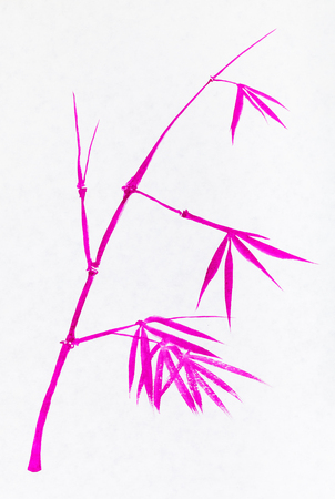 training drawing in sumi-e (suibokuga) style - twig of bamboo handpainted by pink watercolors on white paper