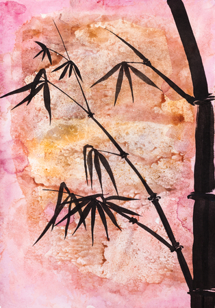 drawing in sumi-e (suibokuga) style - bamboo plant handpainted by black watercolors on abstract pink colored paper