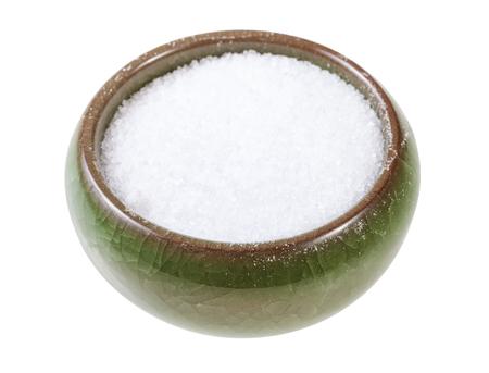 ceramic salt cellar with fine ground Sea Salt isolated on white background
