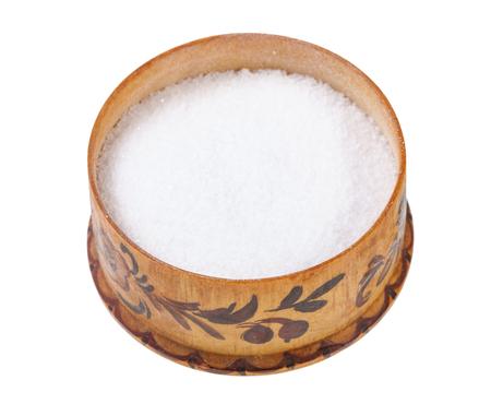 wooden salt cellar with fine ground Sea Salt isolated on white background Reklamní fotografie