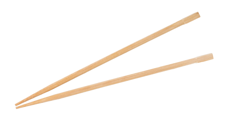 Disposable beech wooden chopsticks isolated on white Stock fotó