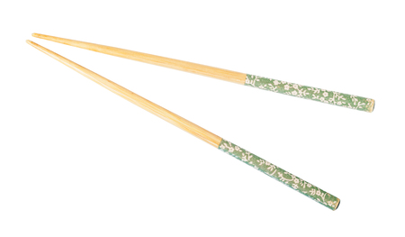 Decorated wooden chopsticks isolated on white