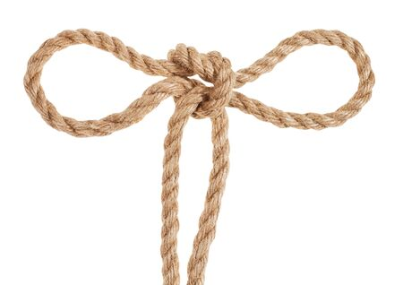Tom fool's knot tied on thick jute rope isolated on white